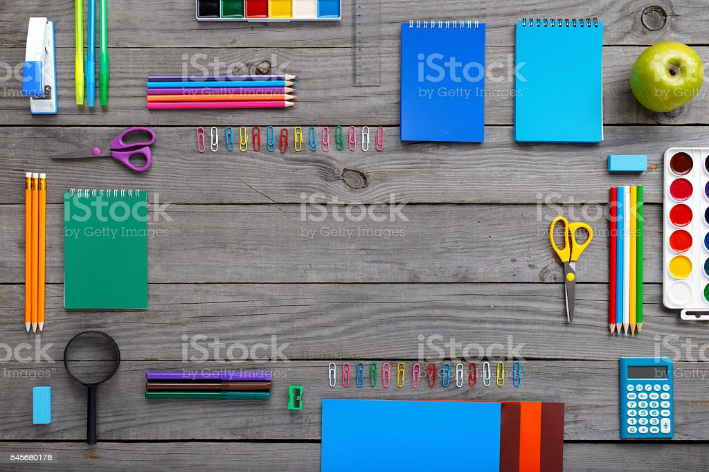 Frame with school supplies stock photo