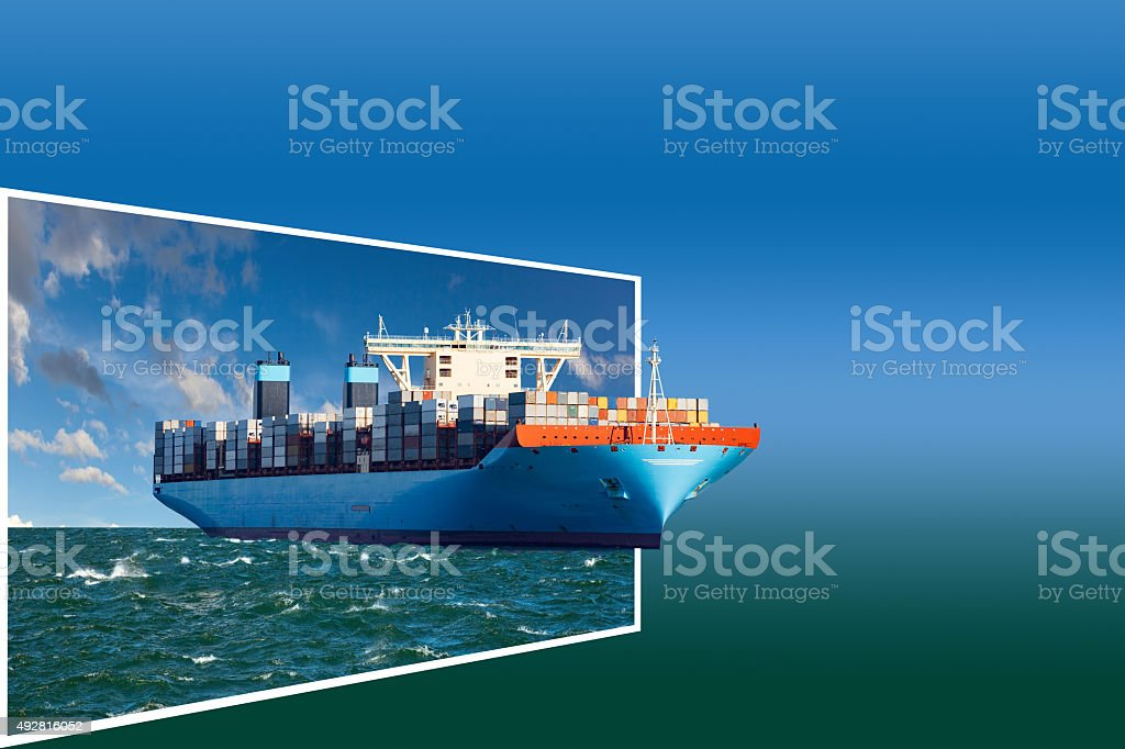 Frame with ship stock photo