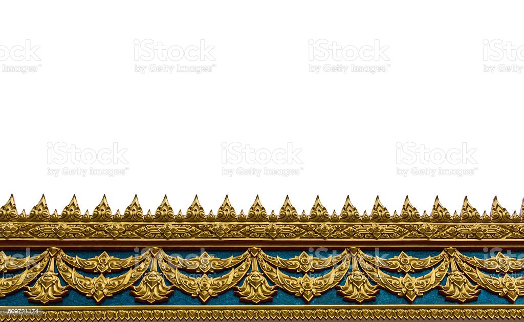 Frame with Thai art wall pattern in thailand Temple stock photo