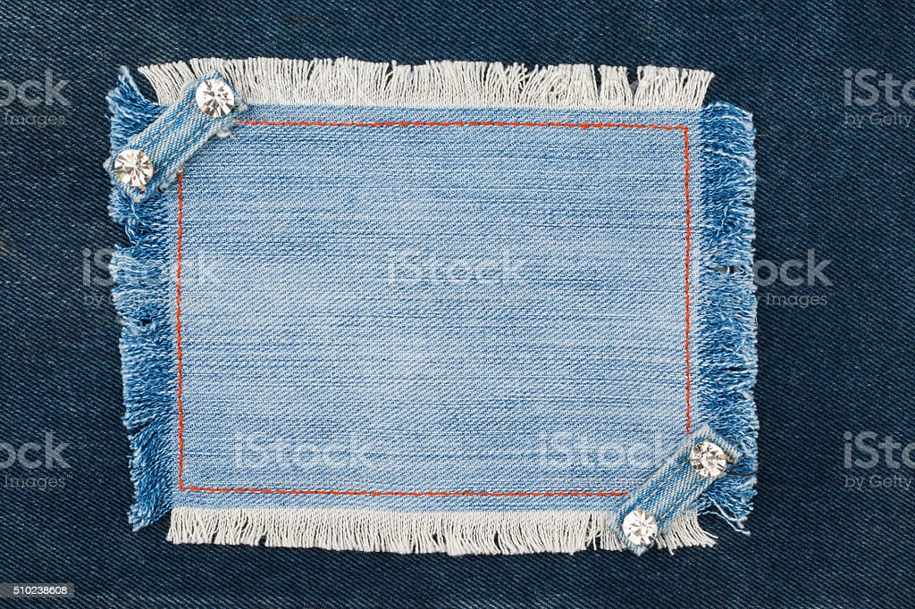Frame with two straps jeans and rhinestones stock photo