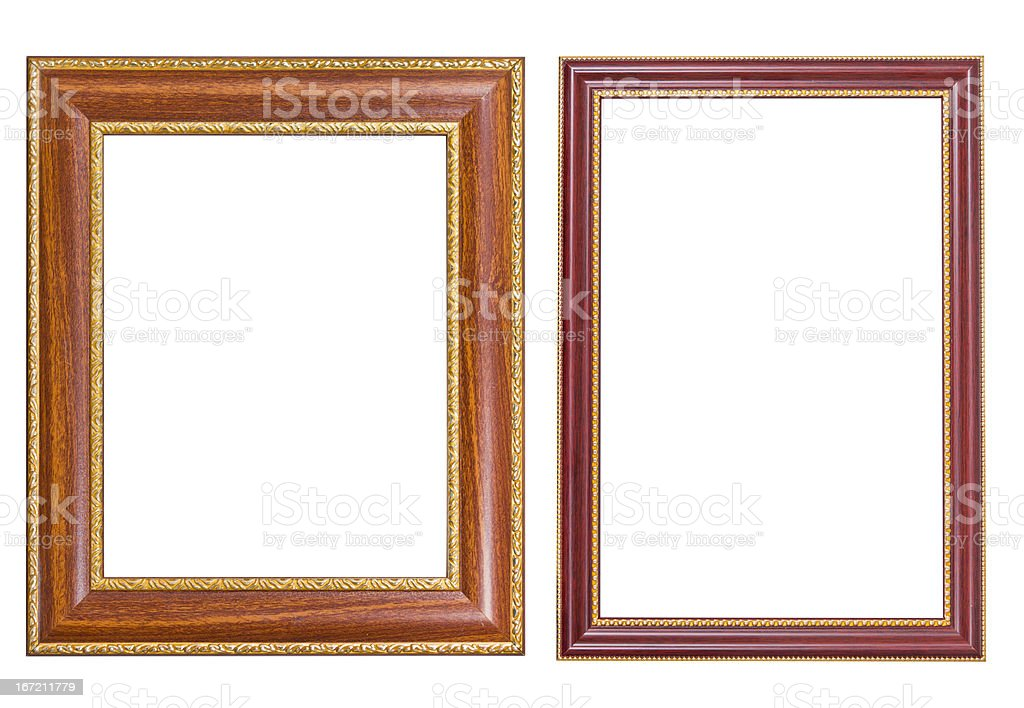 Frame wood and gold style royalty-free stock photo