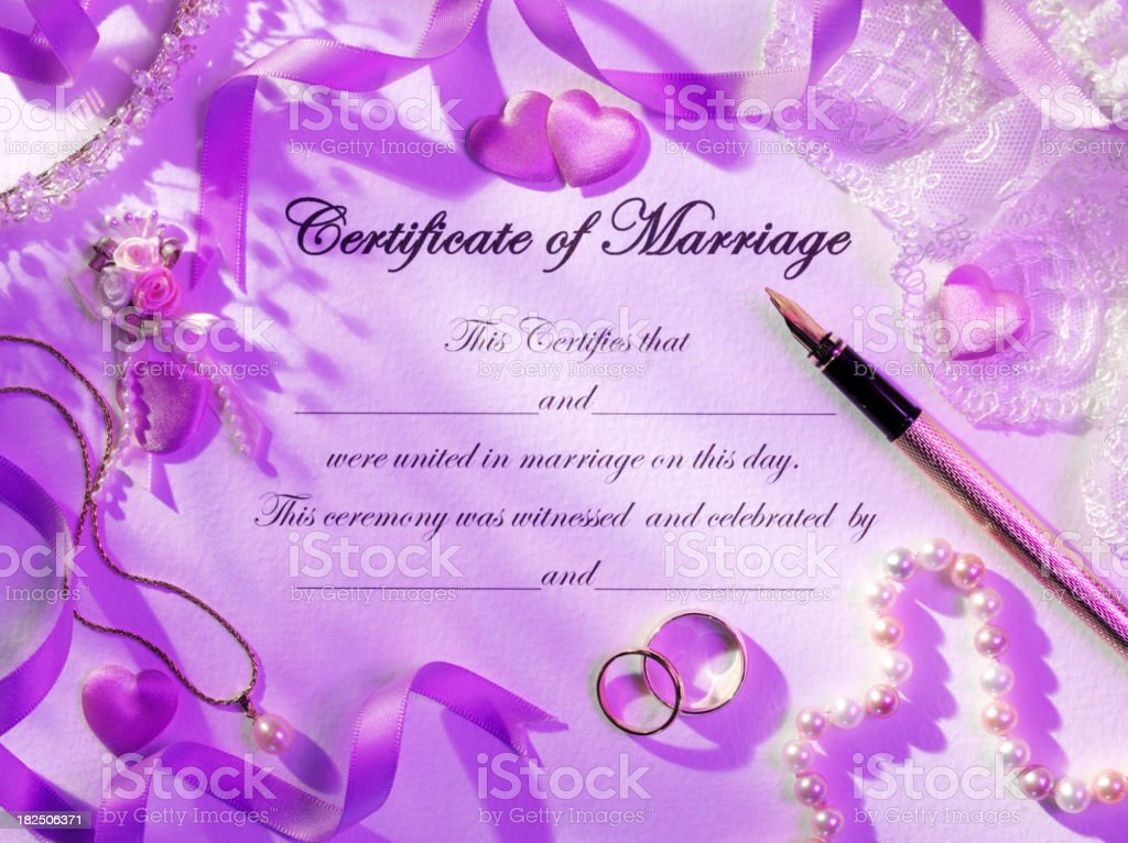Framed Certificate of Marriage royalty-free stock photo