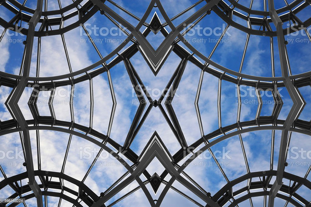 Framed glass ceiling with curvilinear and polygonal structure. Architectural fiction. stock photo