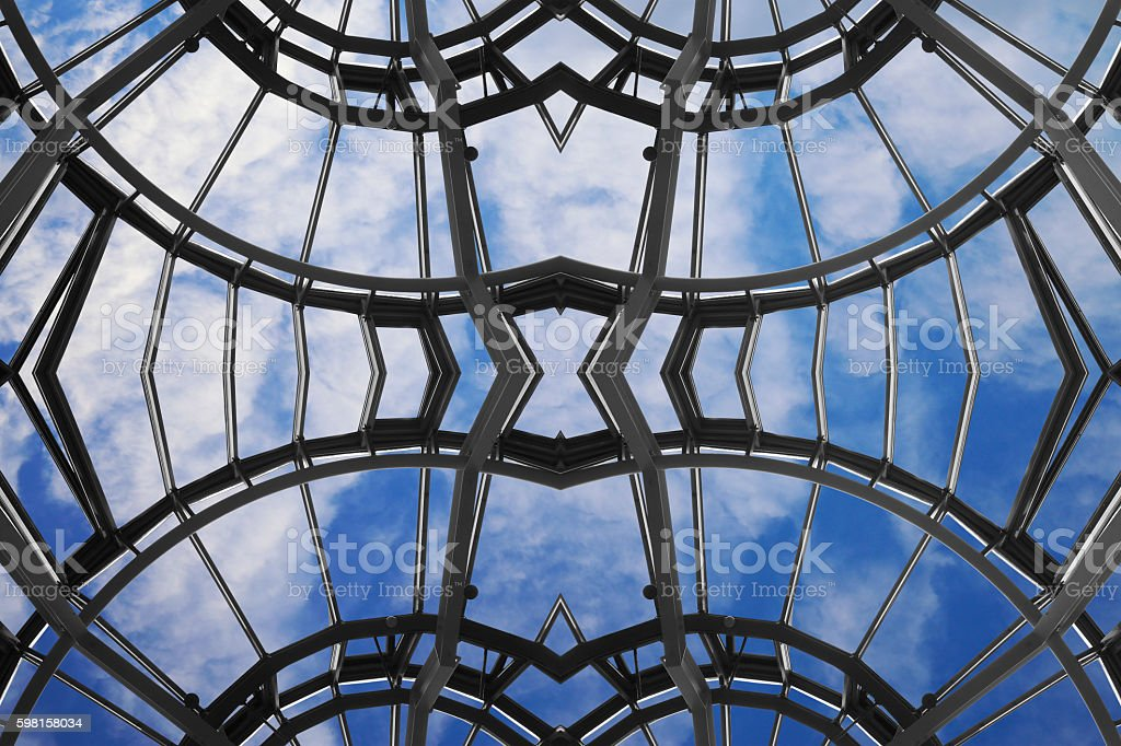 Framed glass ceiling with strange structure. Sky in an office. stock photo