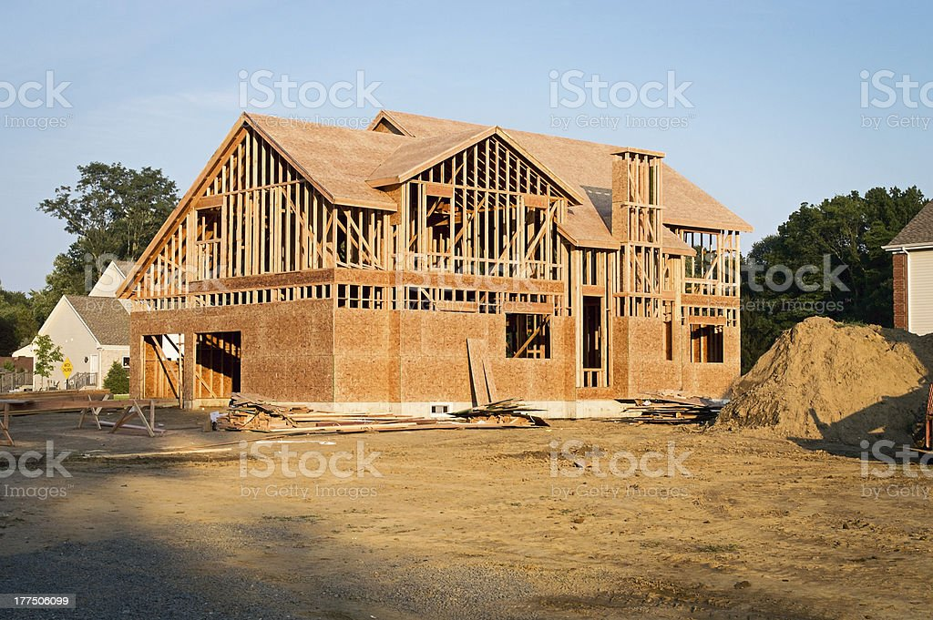 A framed house under construction stock photo