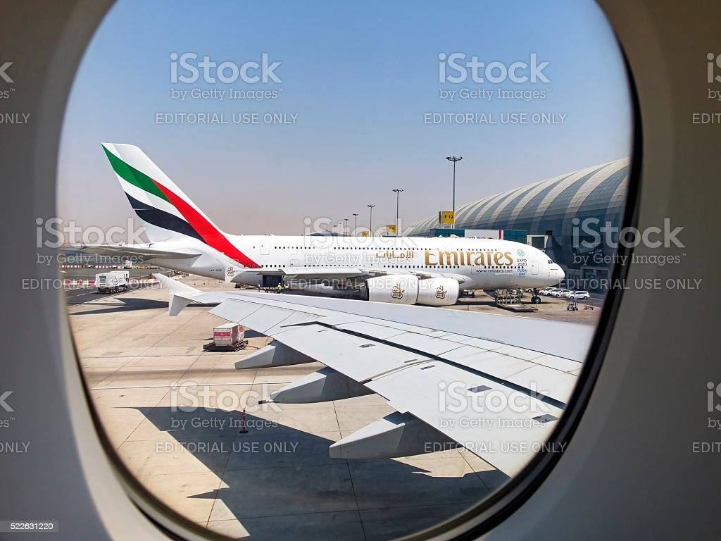 Framed in the window, Emirates A380 in Dubai stock photo