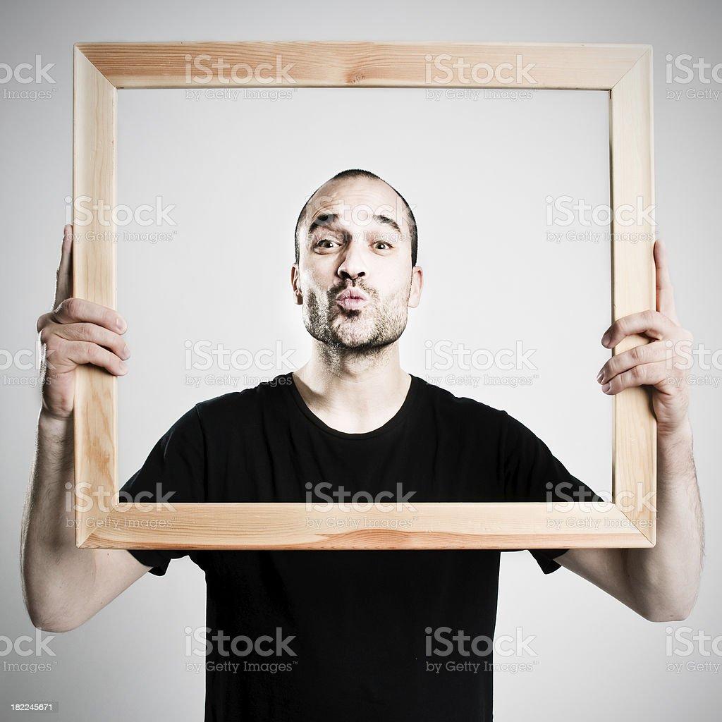 Framed kiss stock photo