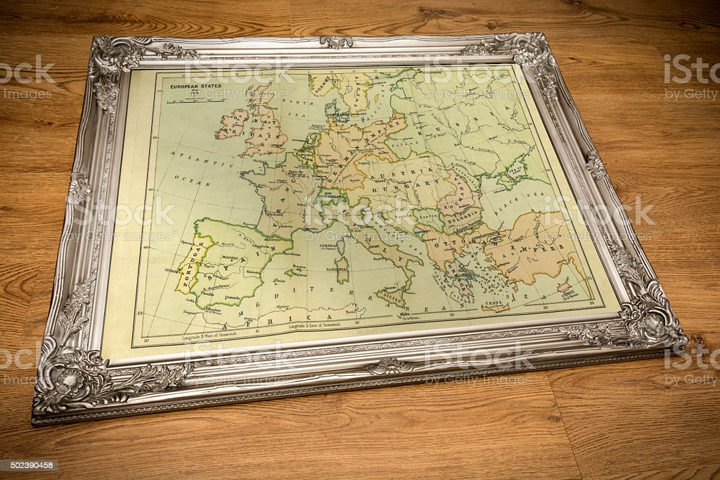 Framed Map of Europe stock photo