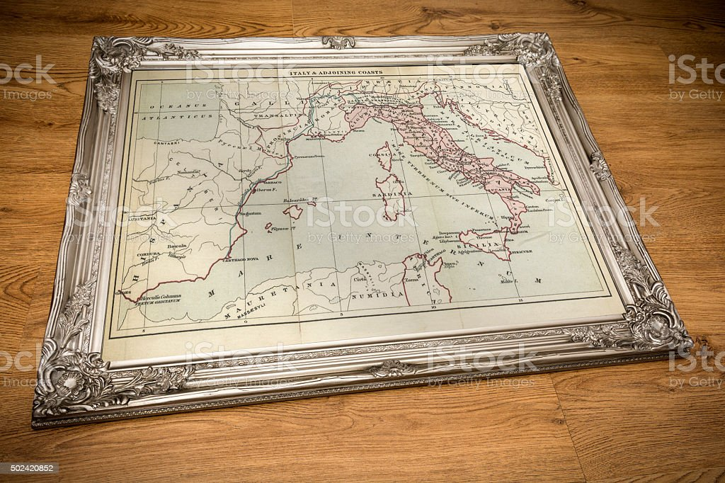 Framed Map of Italy stock photo