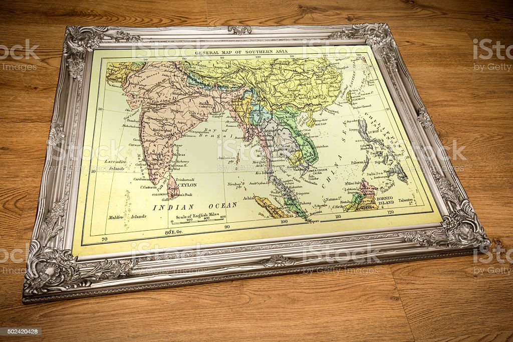 Framed Map of Southern Asia stock photo