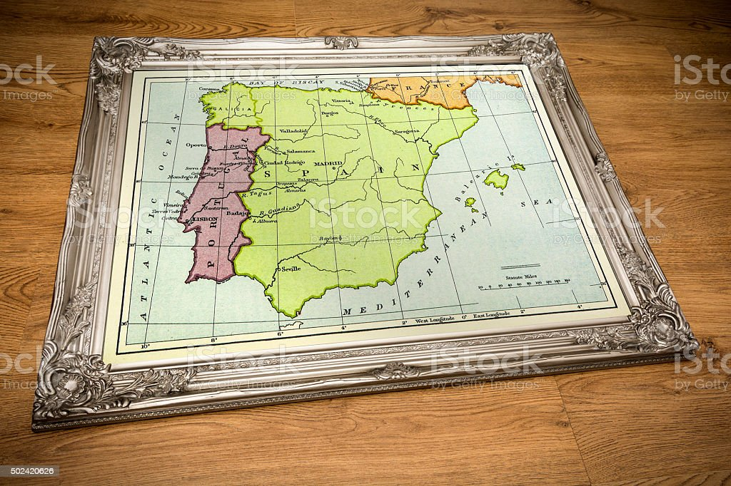 Framed Map of Spain and Portugal stock photo