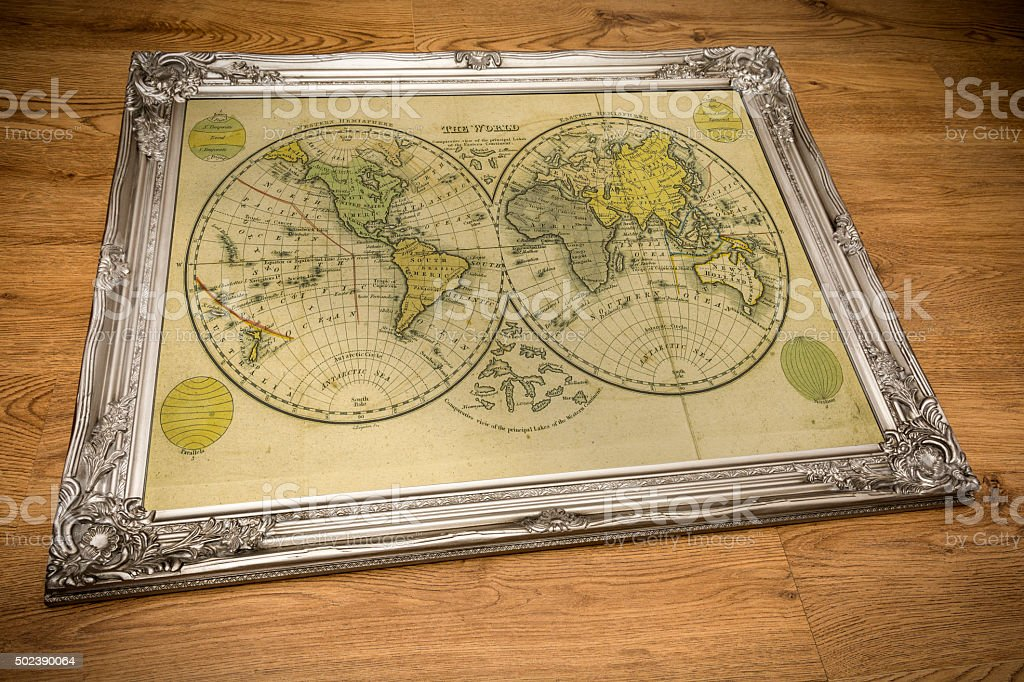 Framed Map of the World stock photo