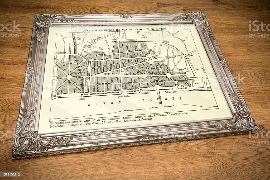 Framed Plan of Old London stock photo