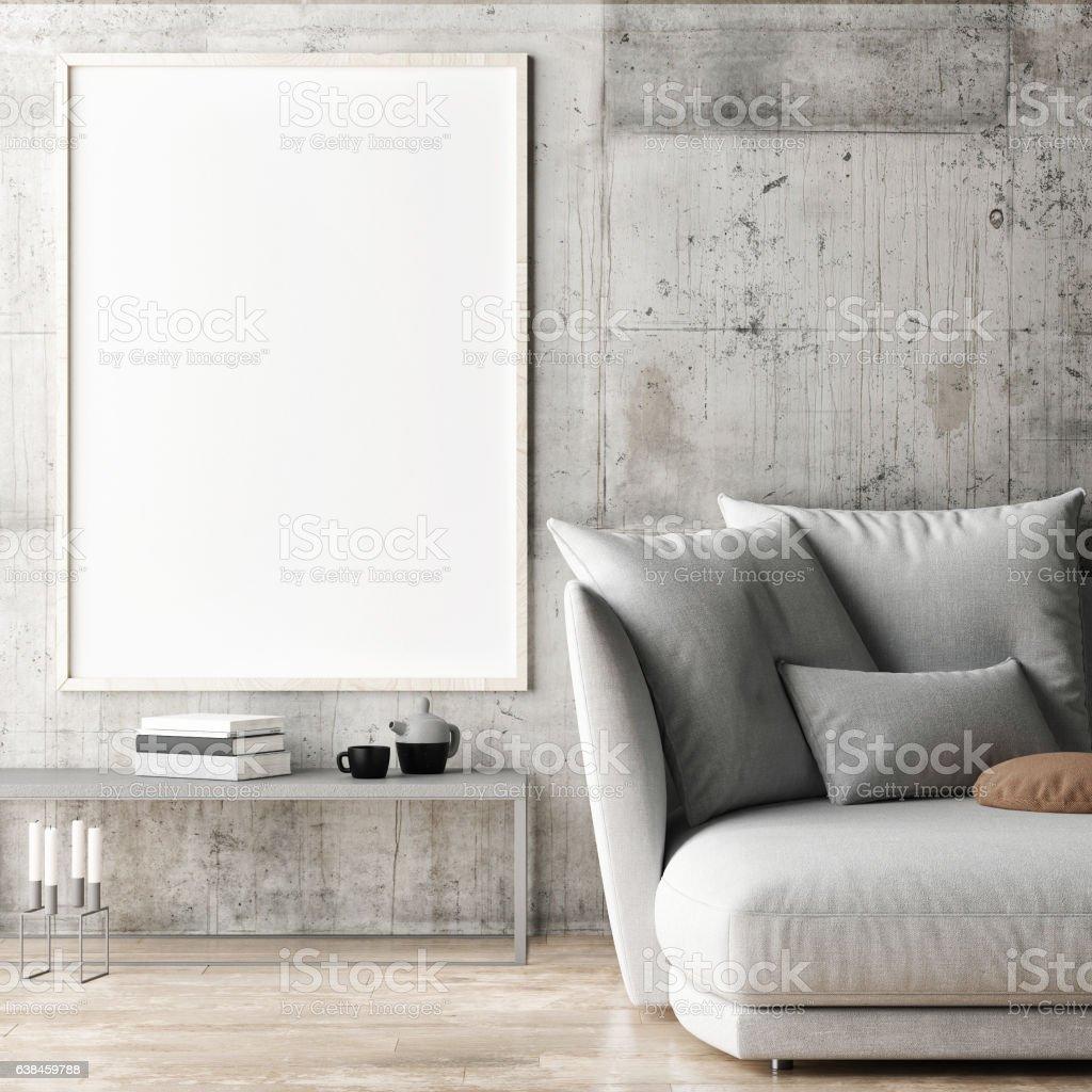 Framed poster in hipster living room stock photo