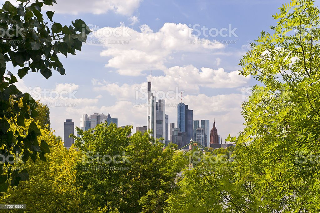 Framed Skyline Frankfurt am Main Germany stock photo