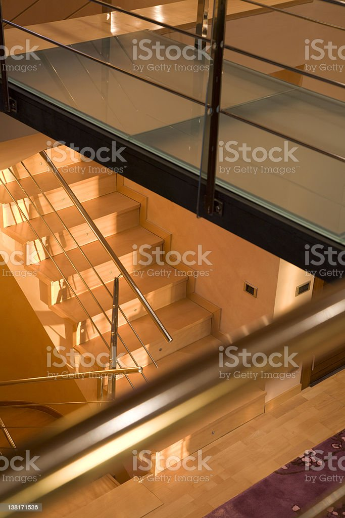 Framed stairs with banister royalty-free stock photo