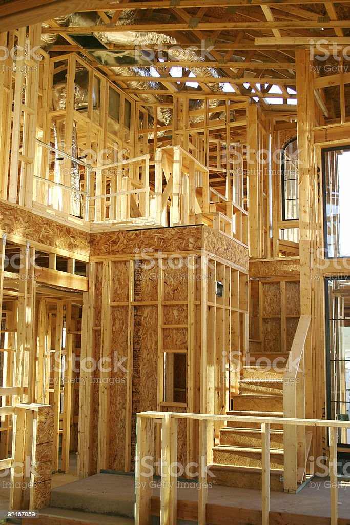 Framed stairway inside new house royalty-free stock photo