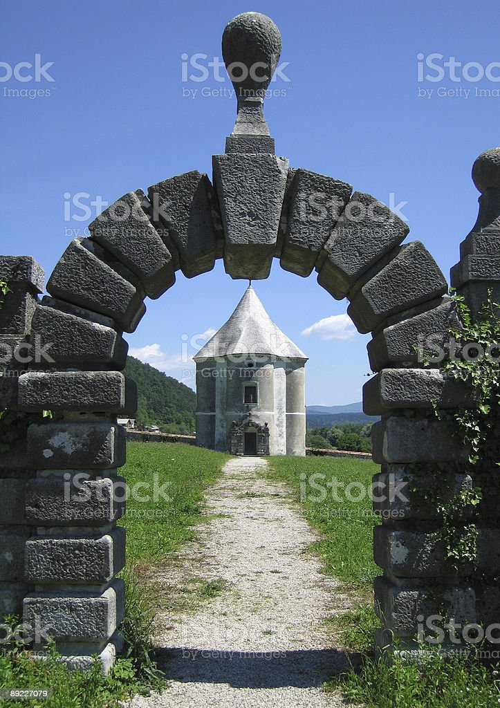 Framed view of a castle royalty-free stock photo