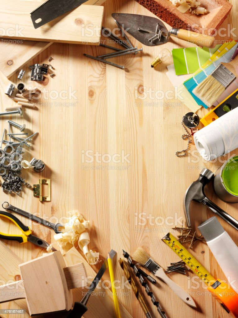 Framed Work Tools on Wood stock photo