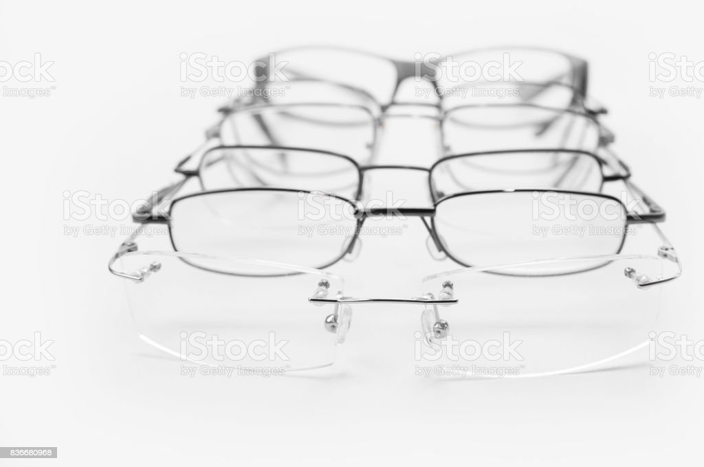 Frames for people with vision disorder for metal glasses stock photo