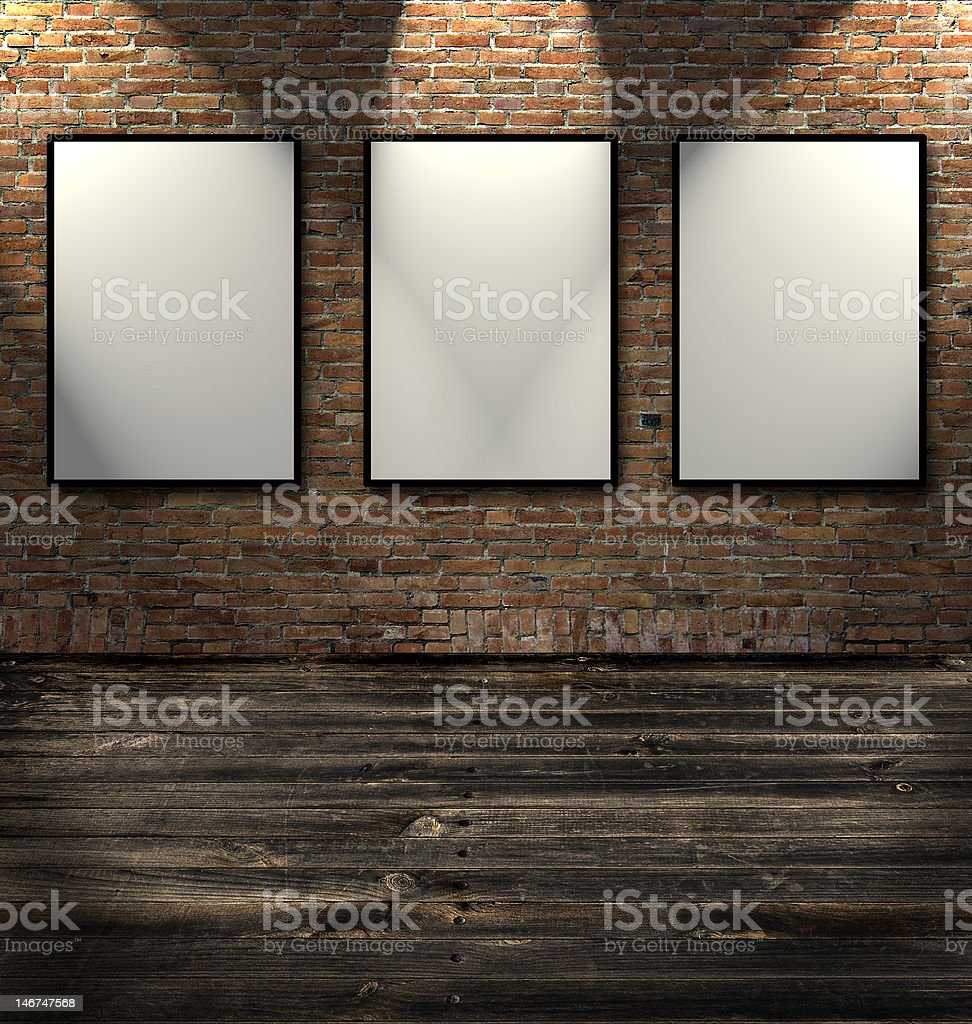Fotogramas en la pared de ladrillos foto de stock libre de derechos