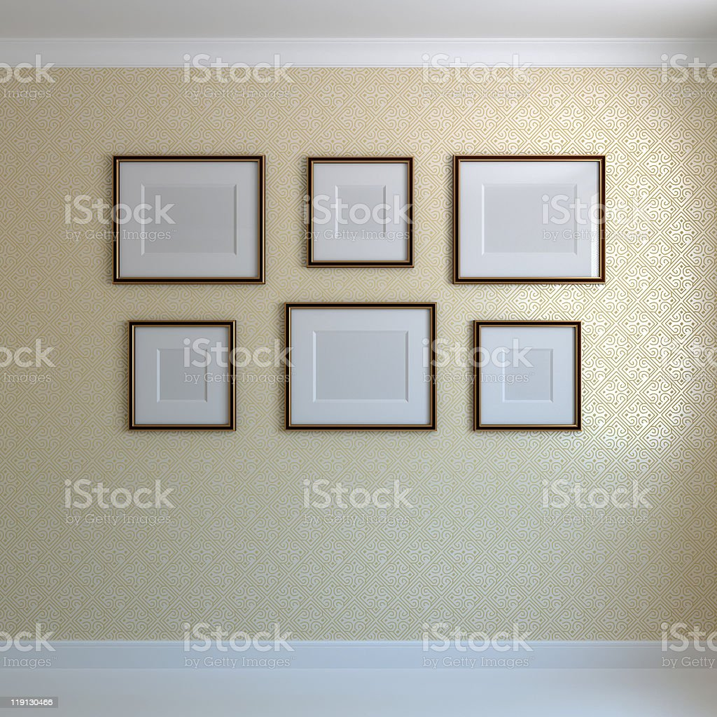 Frames on the wall stock photo