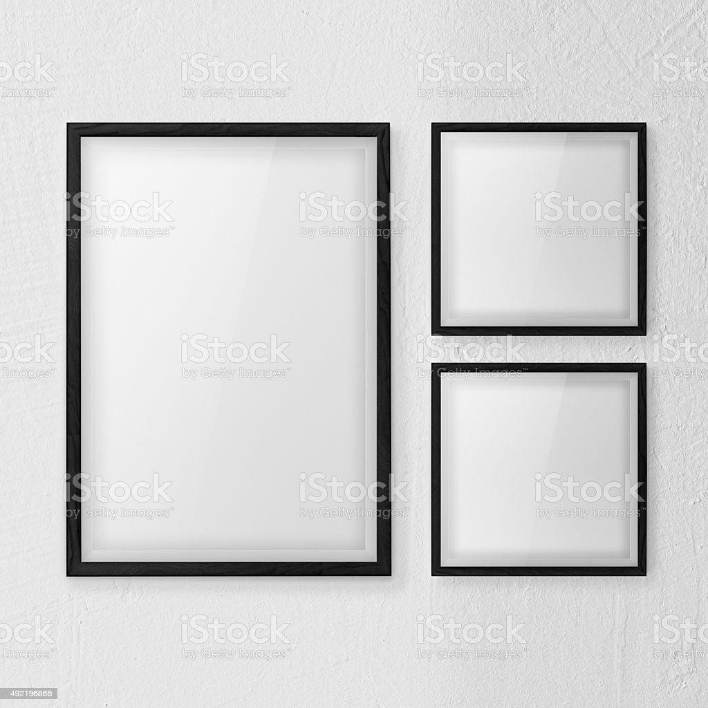 frames wall white set stock photo