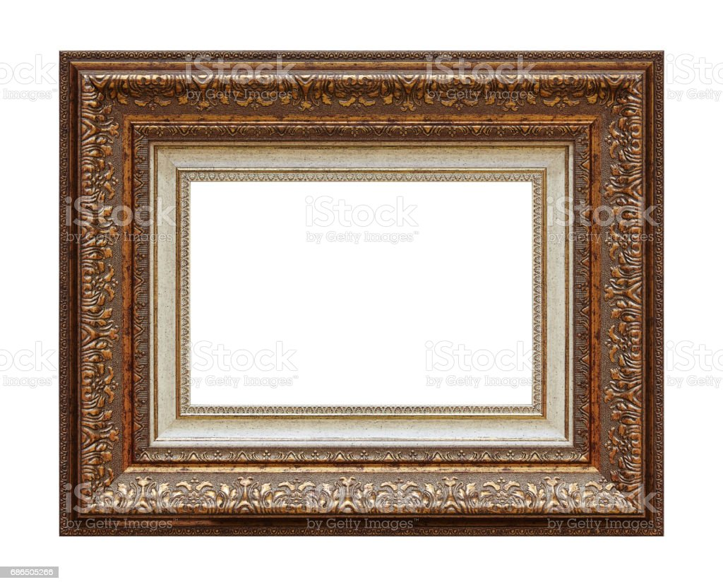Framework In Antique Style Vintage Picture Frame Isolated On White ...