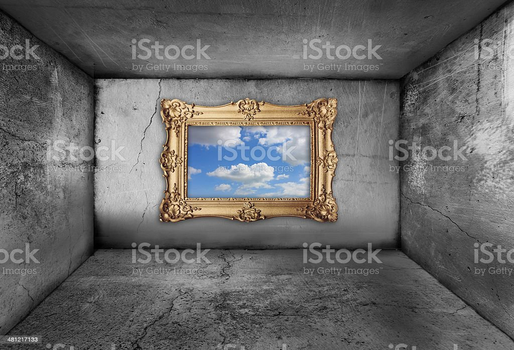 framing a blue sky from inside an old dirty room stock photo