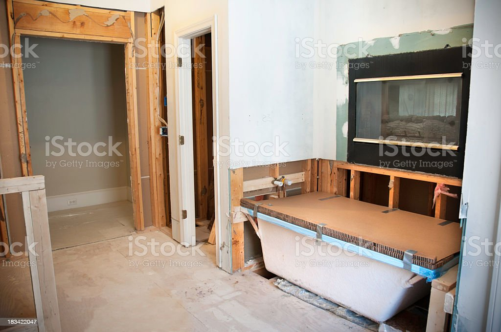 Framing and bath tub installation for a Master bath remodel stock photo