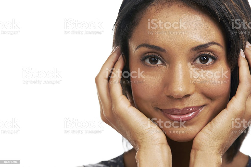 Framing her beautiful face royalty-free stock photo