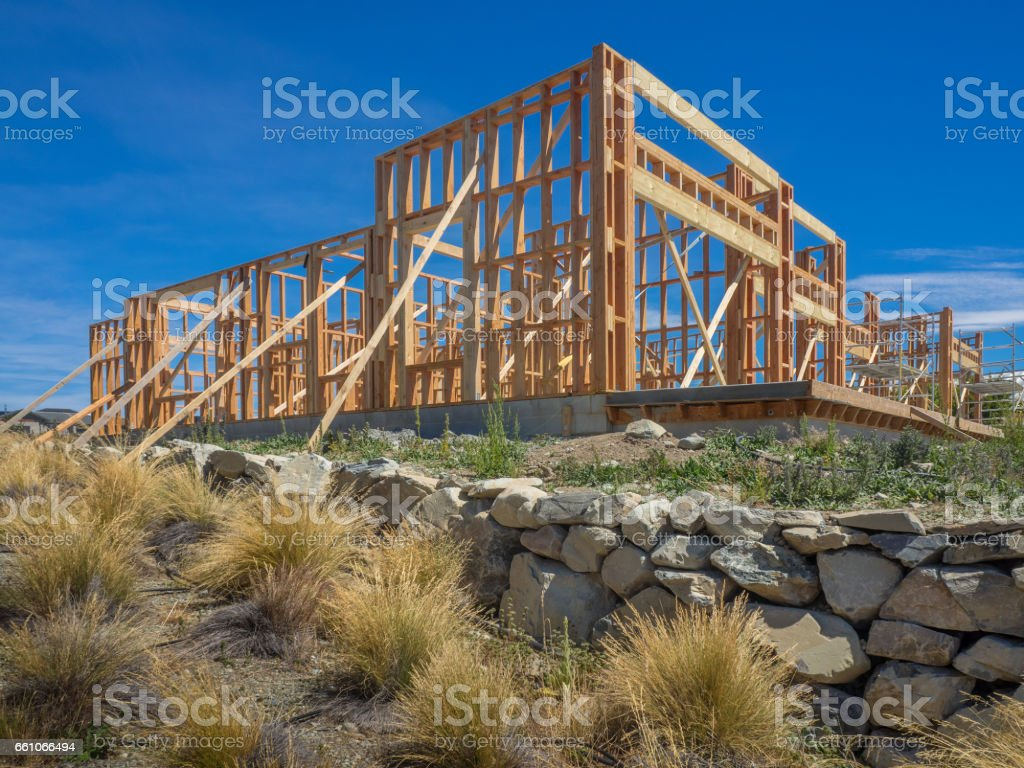 Framing of a new house under construction stock photo