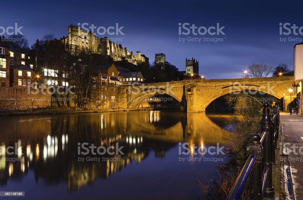 Framwellgate bridge over the river wear at twilight stock photo