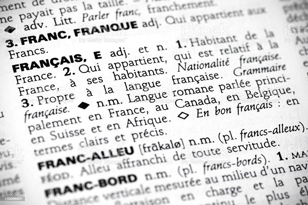 Fran?ais in the dictionary stock photo