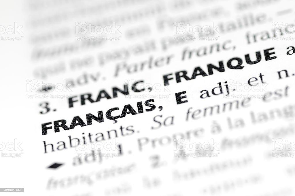 Francais definition royalty-free stock photo
