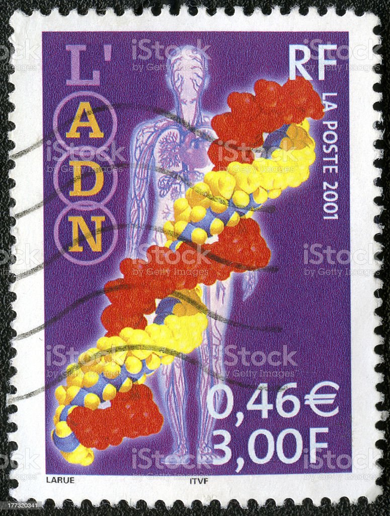 France 2001 postage stamp DNA royalty-free stock photo