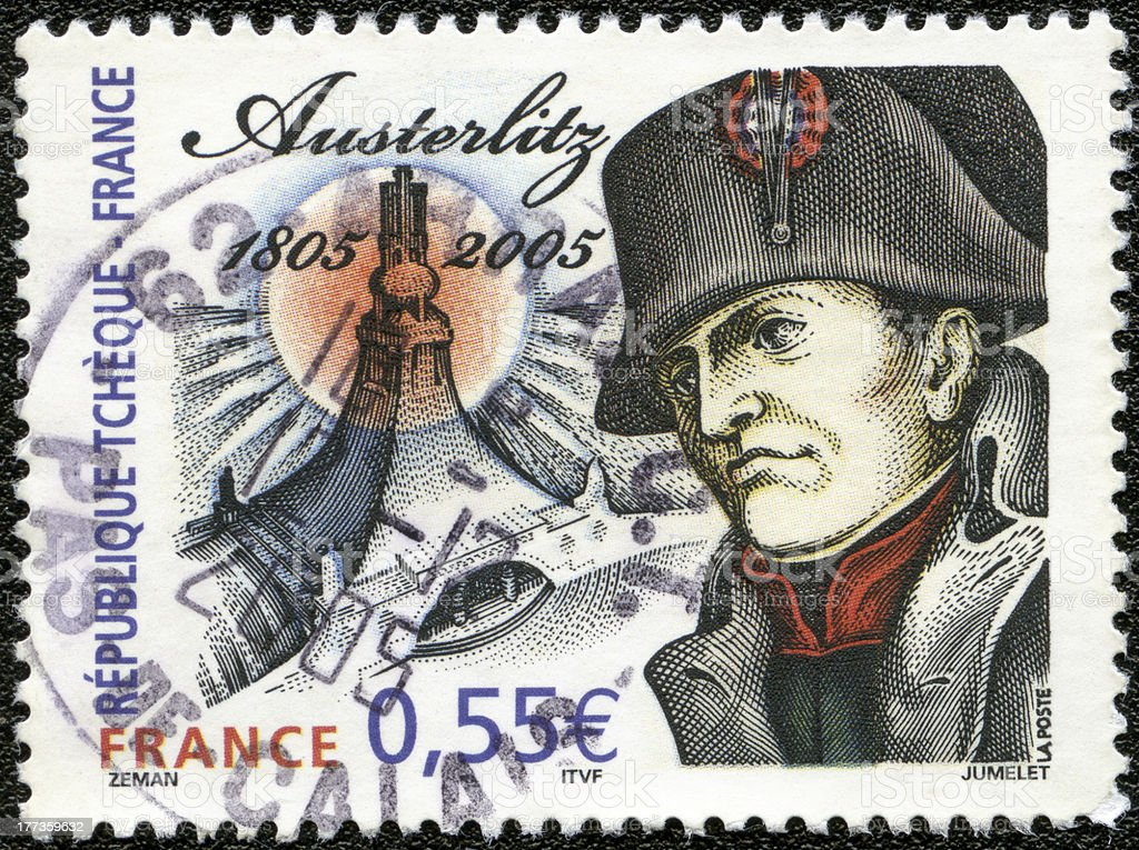 France 2005 postage stamp Napoleon Bonaparte, Battle of Austerlitz stock photo