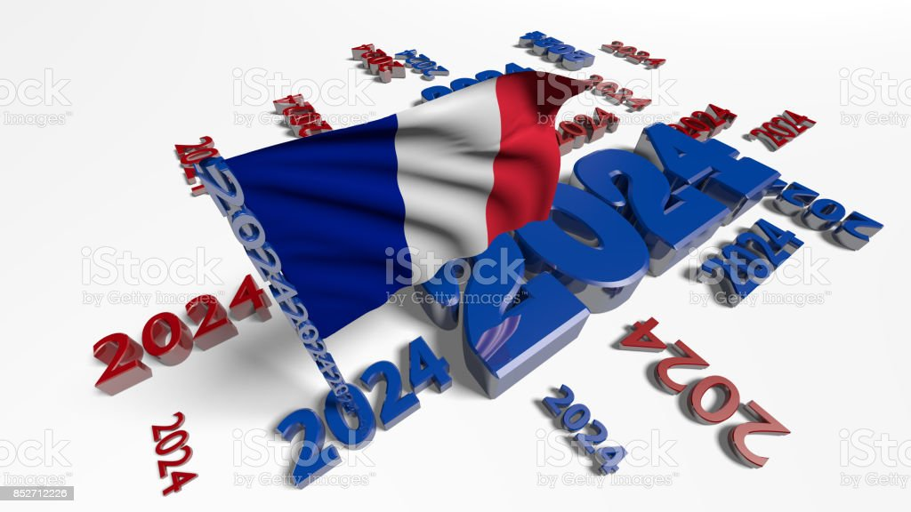 France 2024 Designs with flag in the wind stock photo