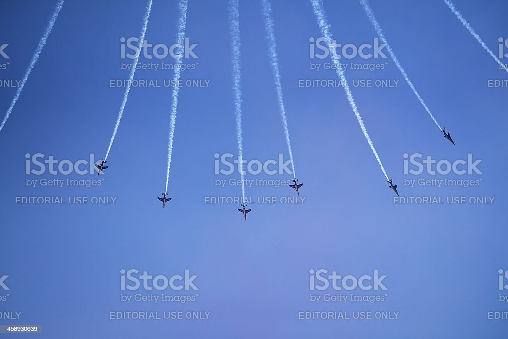 France Air Force Alpha Jets from below stock photo