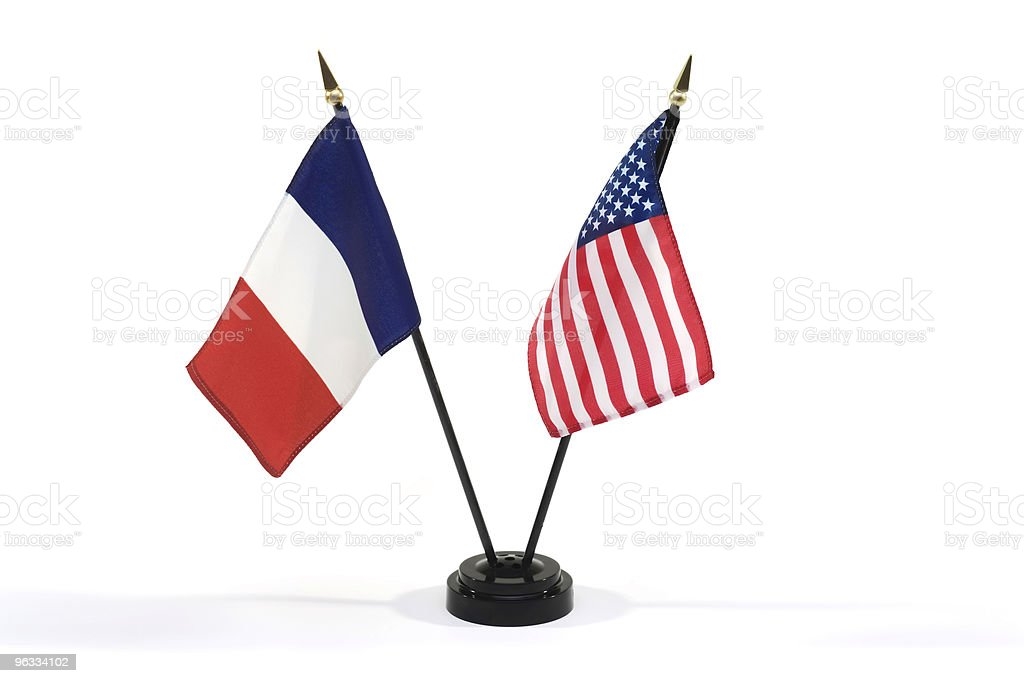 France and USA flags isolated stock photo