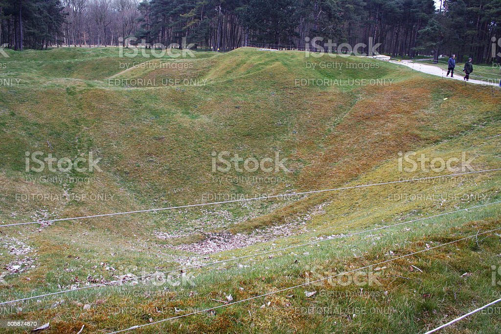 France: Artillery Craters at the Canadian National Vimy Memorial stock photo