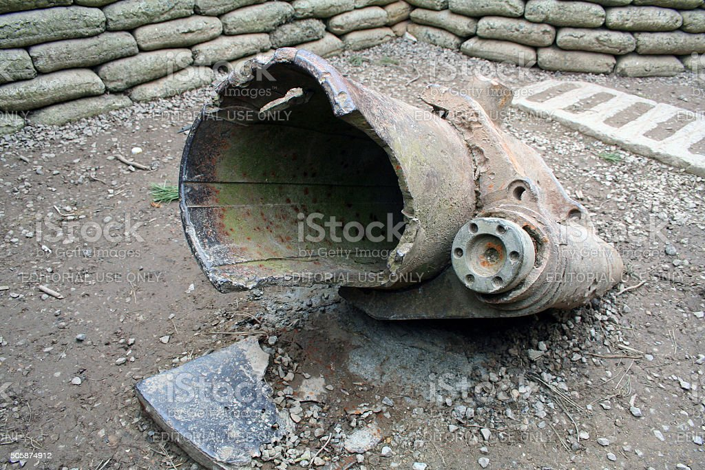 France: Artillery Gun at the Canadian National Vimy Memorial stock photo