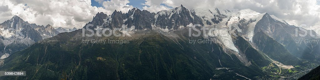 France. Chamonix-Mont-Blanc. The Massif of Mont Blanc from Le Brévent stock photo