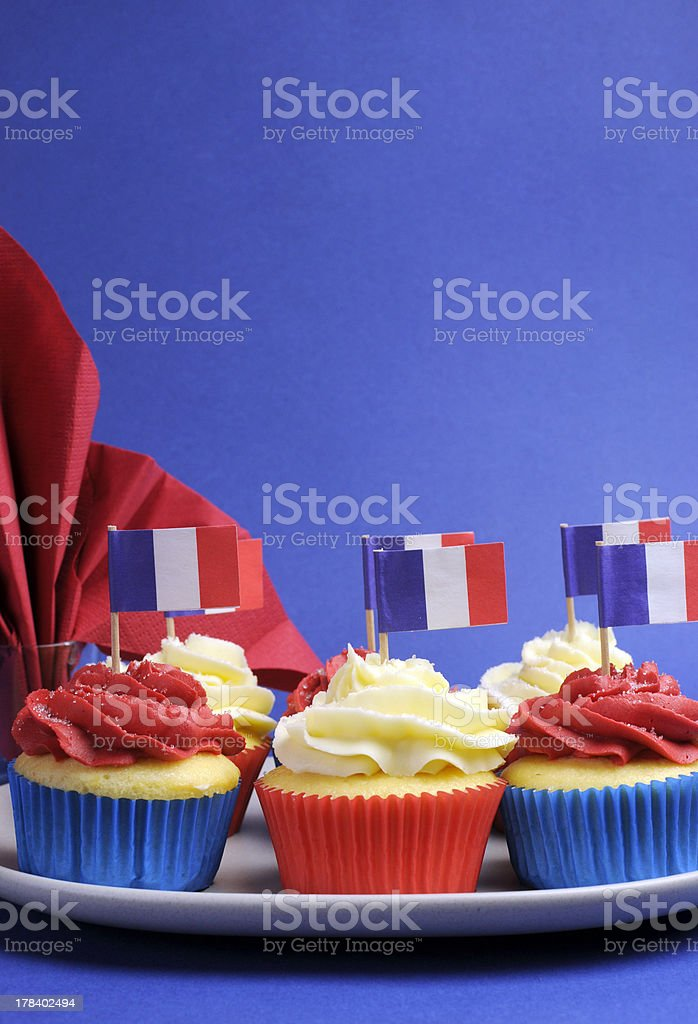 France colors cupcakes with copy space for your text here. stock photo
