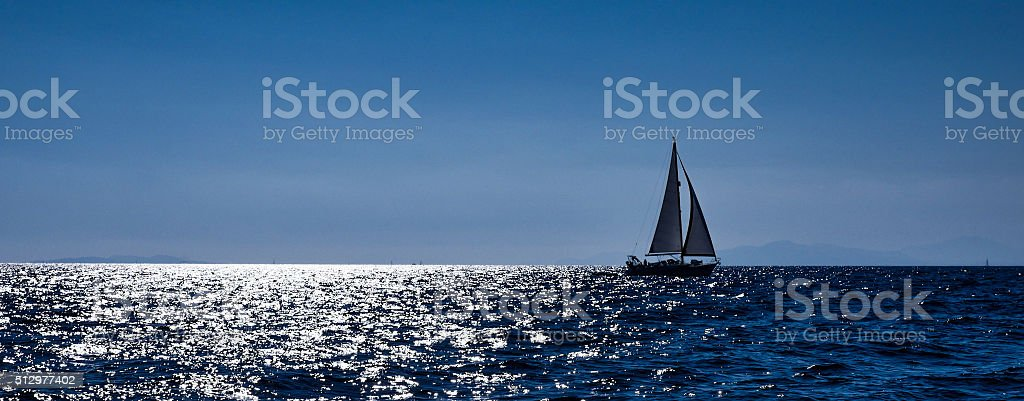 France, Corse, sailing boats in the sea stock photo