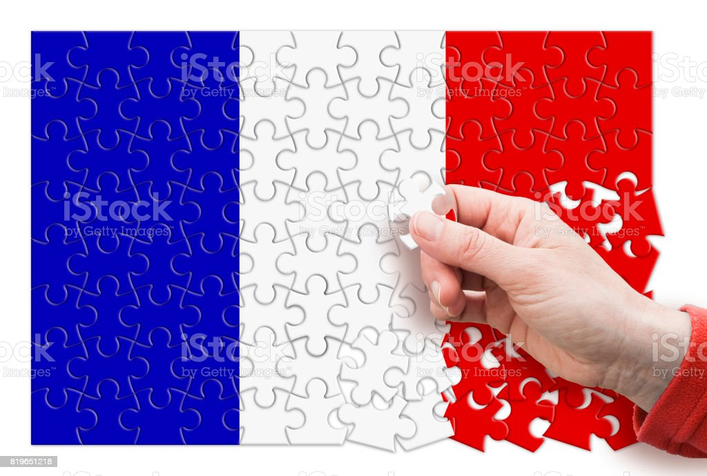 France Exit Europe - concept image in jigsaw puzzle shape stock photo