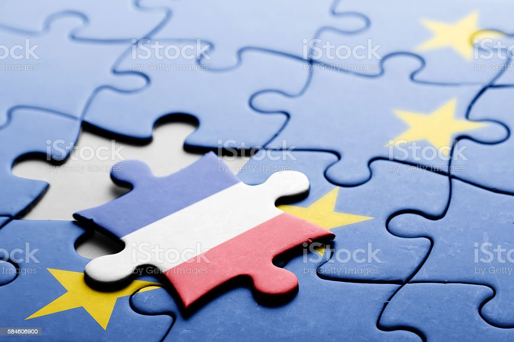 France. Exit from European Union concept puzzle stock photo