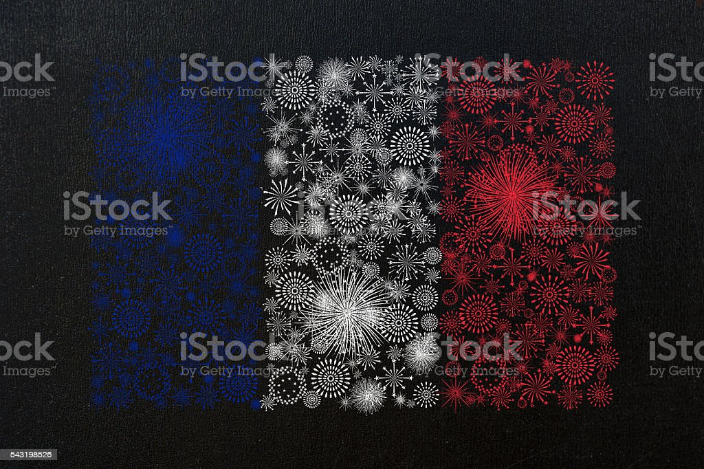 france flag fireworks drawing stock photo