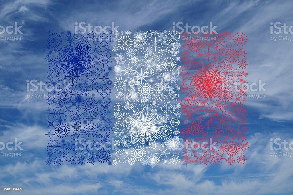 france flag fireworks on blue sky stock photo