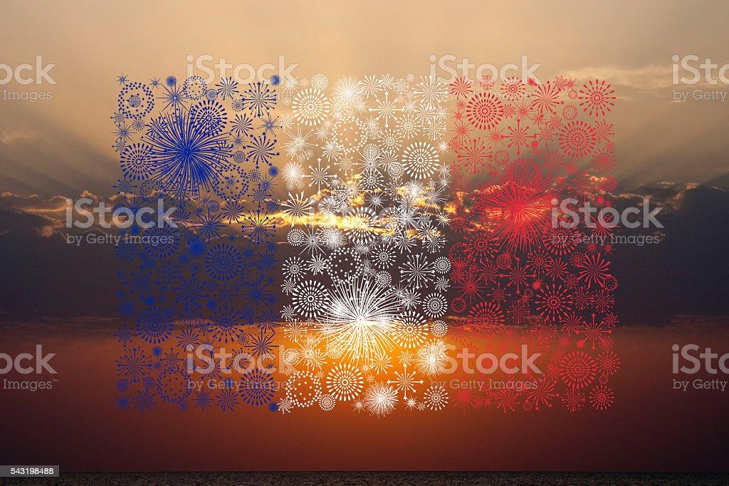 france flag fireworks on sunset stock photo